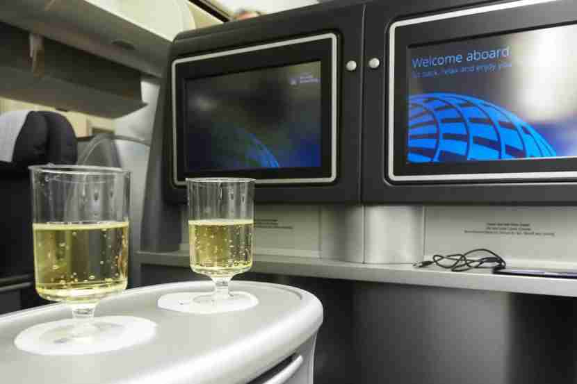 Flight attendants came by to offer Champagne and other beverages just after we boarded.
