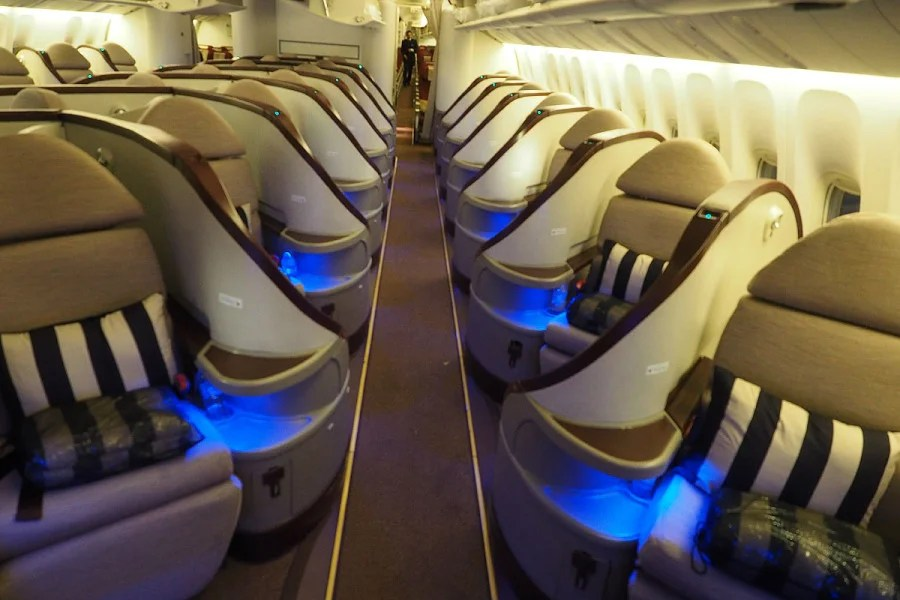 Etihad's business class features some cool-looking seats.
