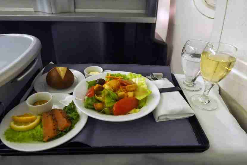 Dinner was served just after departure, with a smoked salmon appetizer and dressed-to-order salad.