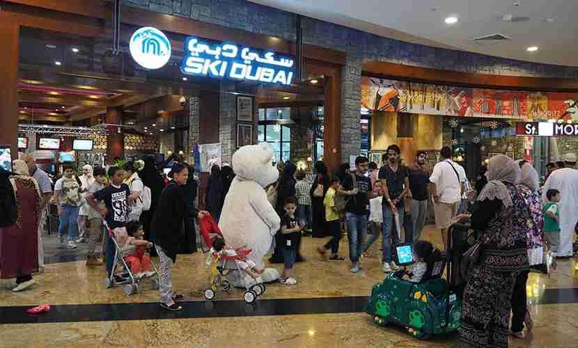 The entrance to Ski Dubai is chaotic and crowded, but things aren