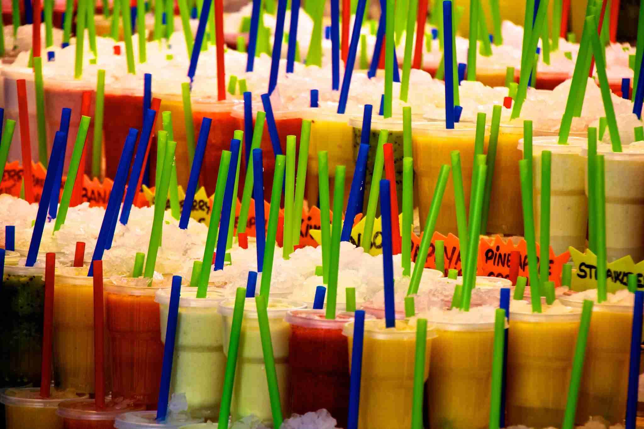 Fresh juice for sale in Barcelonas La Boqueria markets