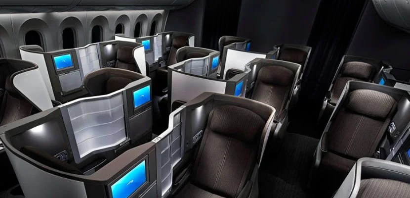 BA's 787 Dreamliner business-class cabin.