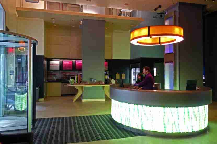 The lobby at Aloft Downtown.