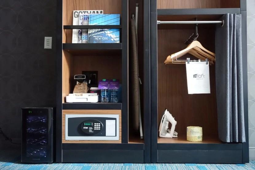 The closet/beverage/safe area.