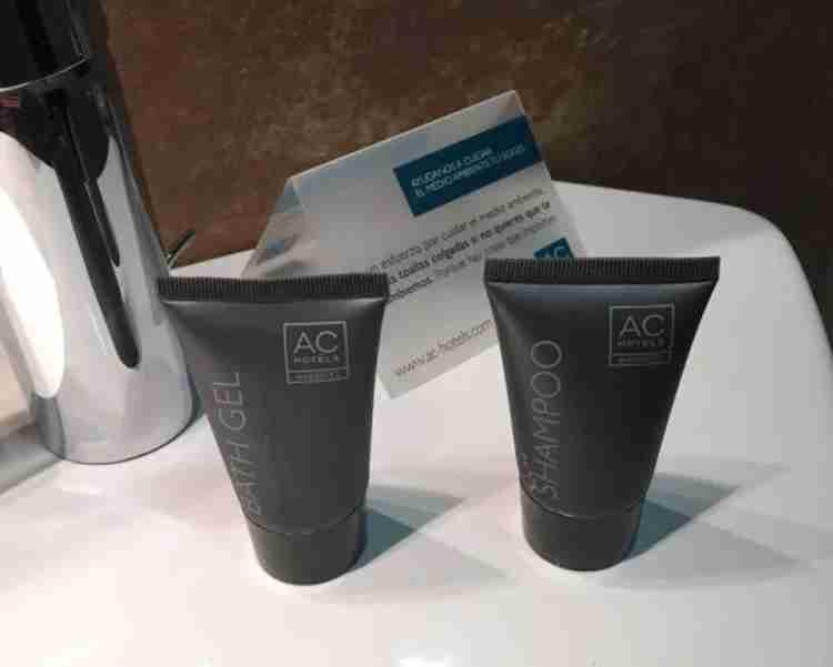 AC-branded amenities in the bathroom.