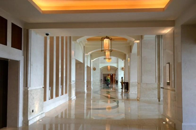 The hotel's huge, modern lobby.