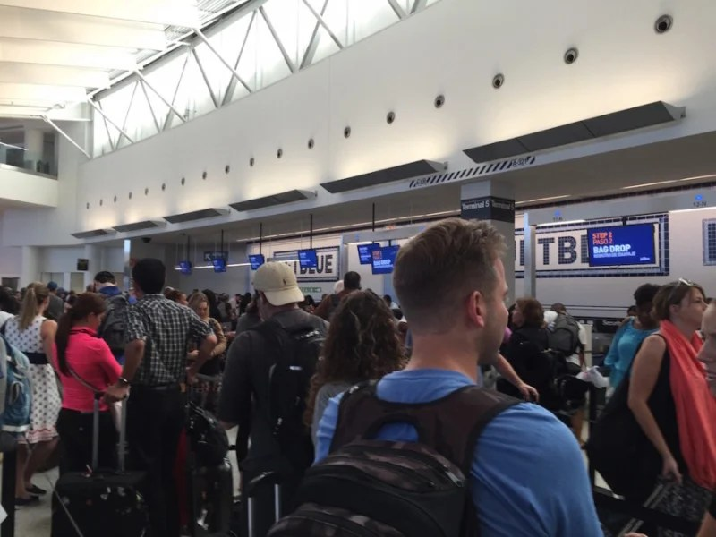 Terminal 5's over crowded baggage drop line