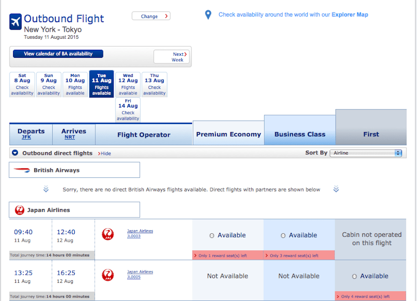 Like with Cathay, search for JAL awards using Qantas' or BA's sites.
