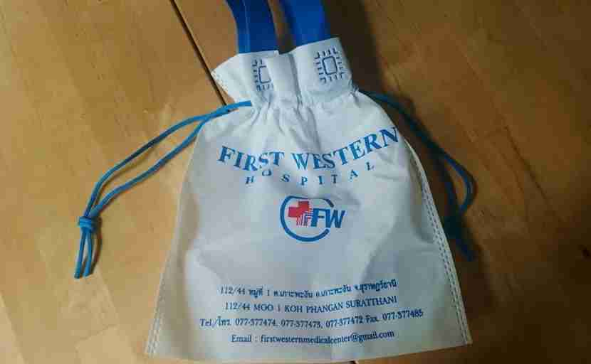My trusty souvenir bag from the First Western Hospital in Thailand.