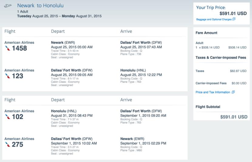Newark (EWR) to Honolulu for $591 on AA.