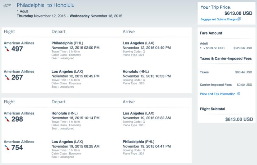 Philadelphia to Honolulu for $613 on AA.