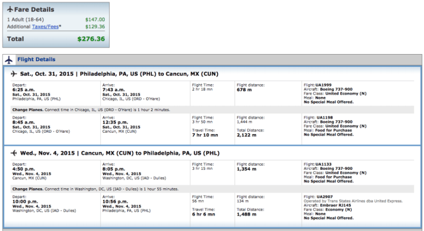 Philadelphia to Cancun for $276 on United.