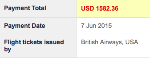 My amazing fare of $1,582, booked via the British Airways site.