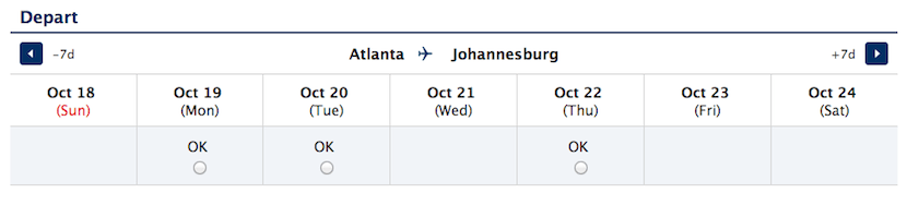 Searching roundtrip for Atlanta to Johannesburg reveals a 7 day calendar of availability.