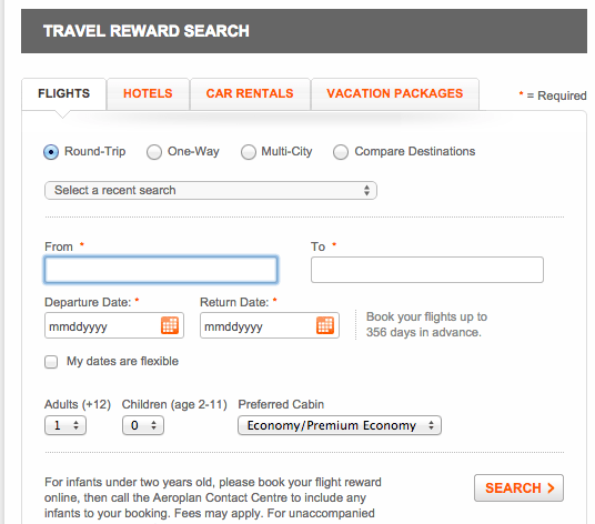 Use Aeroplan.com's search function as another option for award availability.