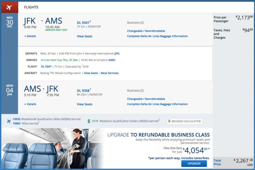New York (JFK) - Amsterdam (AMS) for $2,267 round-trip in business on KLM.