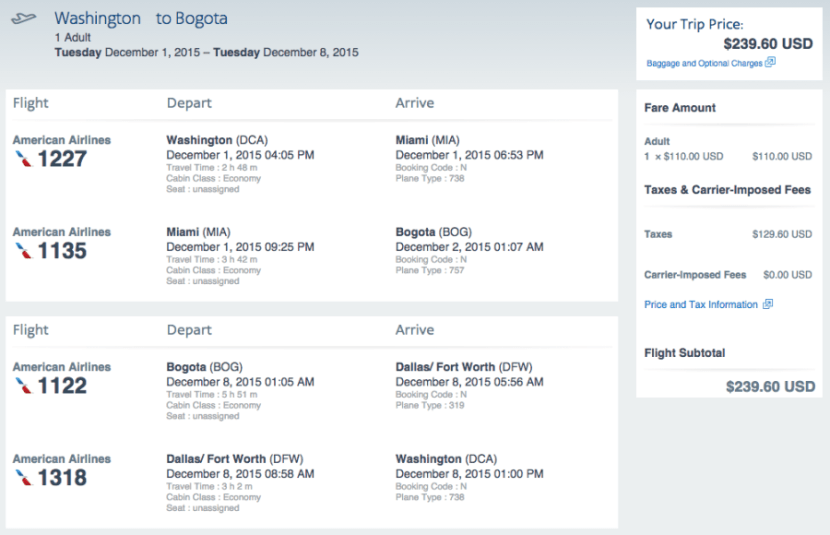 Washington, D.C. (DCA) - Bogota (BOG) for $240 round-trip on AA.