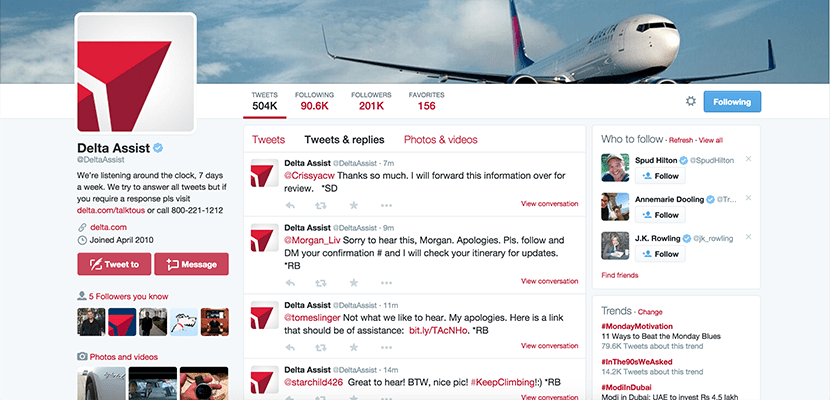 Second-best Delta is the airline to have a separate Twitter handle for customer service requests, @DeltaAssist.