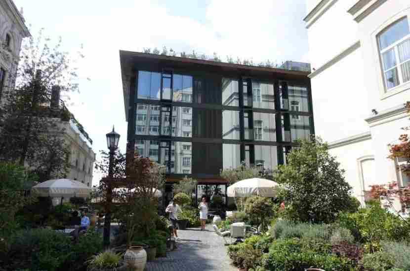 The newly built hotel of Soho House Istanbul is a nice contrast with the classic buildings on the property.
