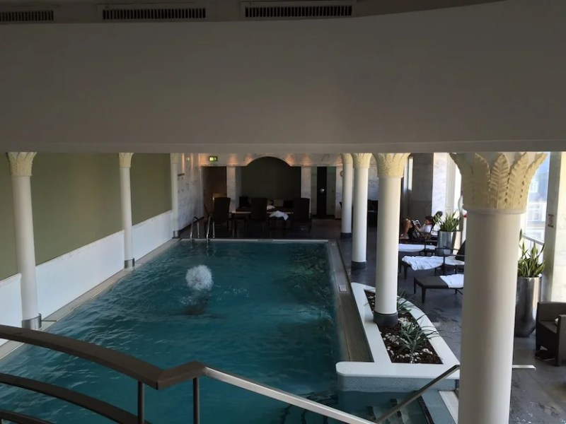 Overlooking the indoor pool from the second level.