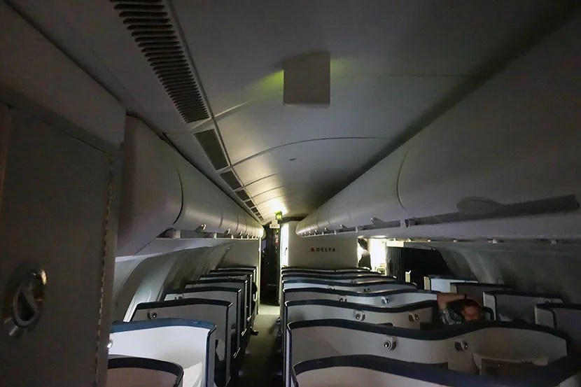 The cabin was quiet and peaceful throughout the flight.