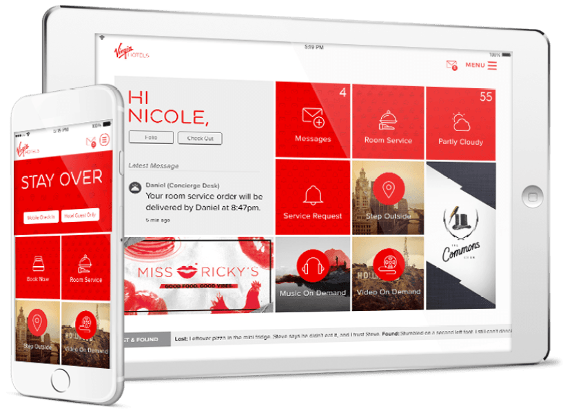 Lucy, the in-house app for Virgin Hotels Chicago.