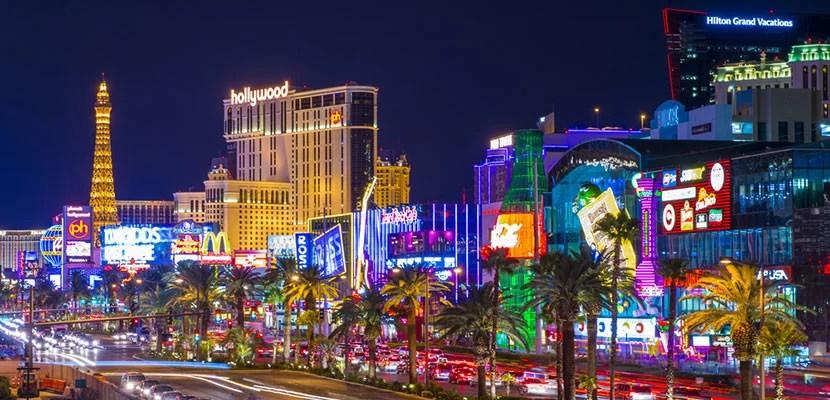 The Las Vegas Strip lit up at night.