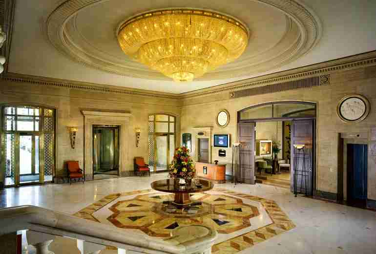 The elegant lobby of the Sofia Hotel Balkan, part of Starwood
