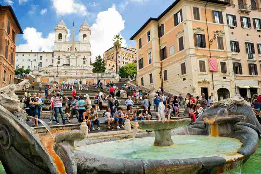 Head to the Spanish Steps — which are rarely empty. Photo courtesy of Shutterstock.