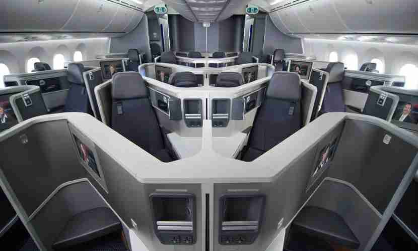 Business-class cabin on American