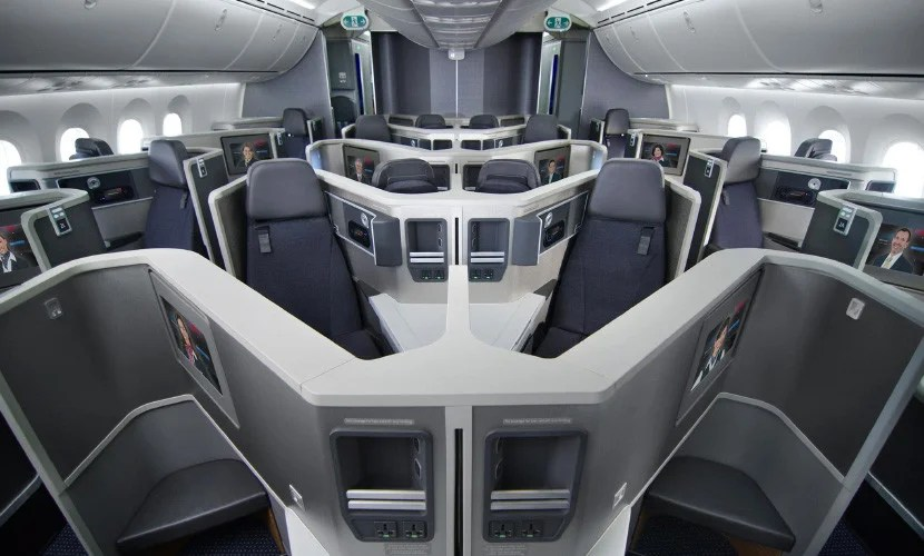 Business-class cabin on American's Dreamliner.