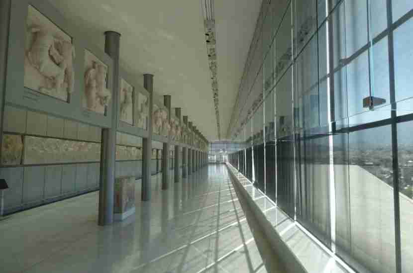 The beautifully designed and blessedly cool halls of the Acropolis Museum.