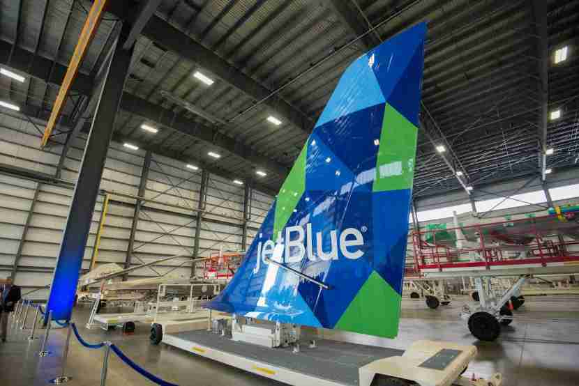 A JetBlue A321 tail at Airbus