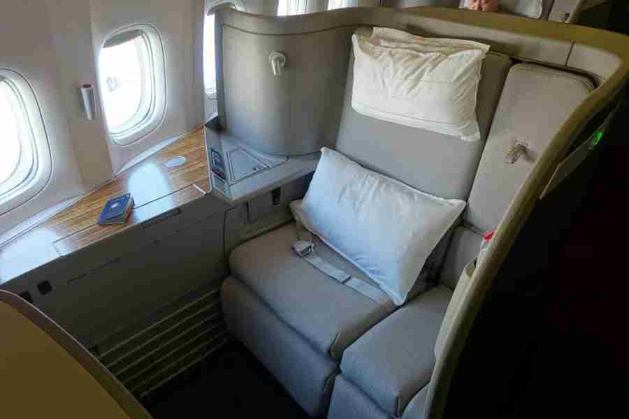 My first-class seat from the aisle.