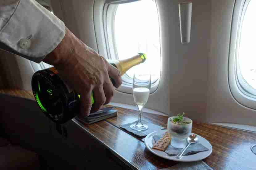 Cathay Pacific serves Krug Champagne, even on the ground in the US.