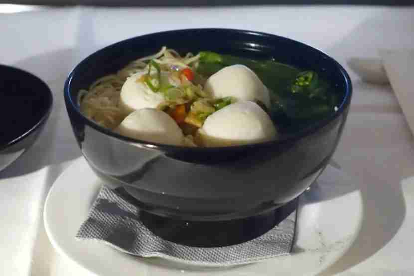 Later in the flight, I ordered a fish ball noodle soup.