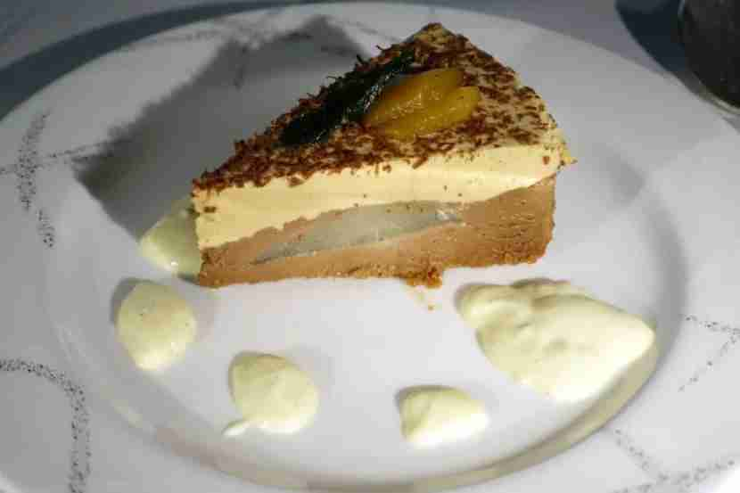 A pear mousse cake for dessert.