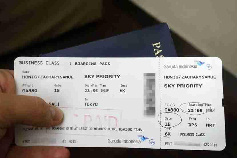 My business-class boarding pass.