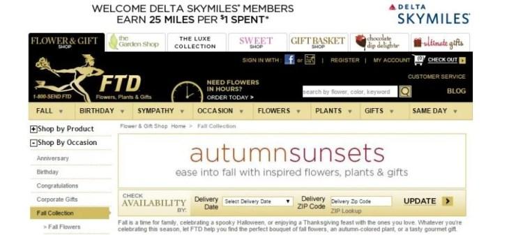 Get 25 Delta SkyMiles per $ spent on FTD.com