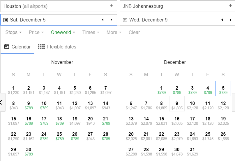 Houston-Johannesburg Google Flights