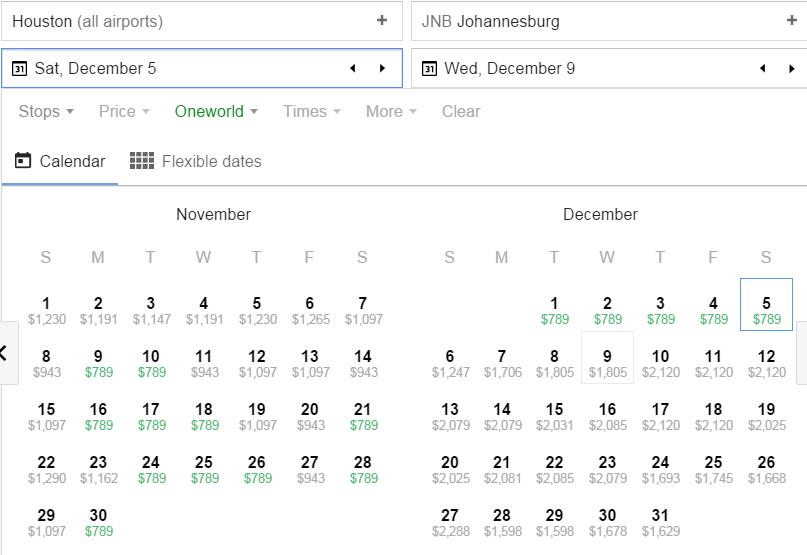 Houston-Johannesburg Google Flights