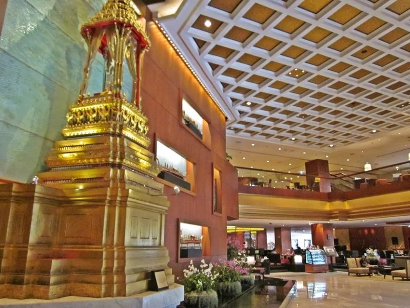 A golden shrine welcomes you as you enter the lobby