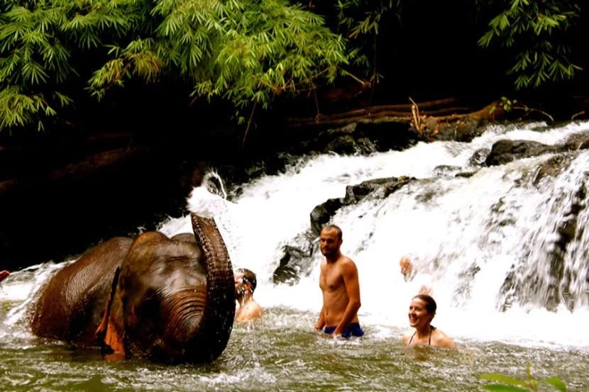 Bathe elephants in a waterfall at eco-friendly elephant rescue center Mondulkiri