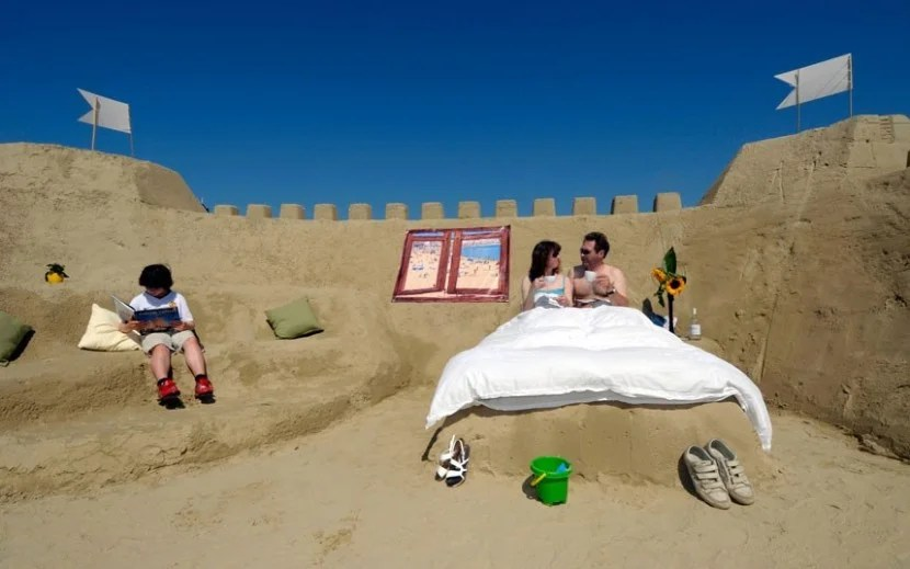 You can stay at the Sand Hotel in Weymouth, UK, but keep in mind, you won't have a bathroom...or a roof! Photo courtesy of the Sand Hotel.