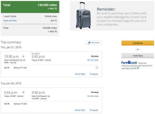 Newark to Tokyo for 130,000 miles round-trip.
