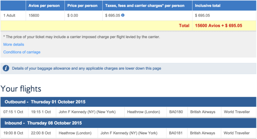JFK to London for 15,600 Avios + $697.