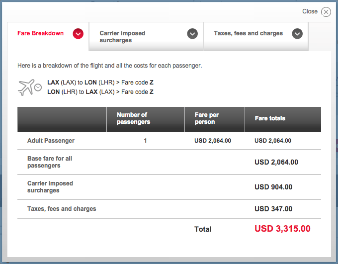 VS LAX-LHR fare breakdown