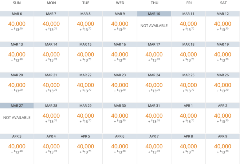 Availability for 9 business-class seats.