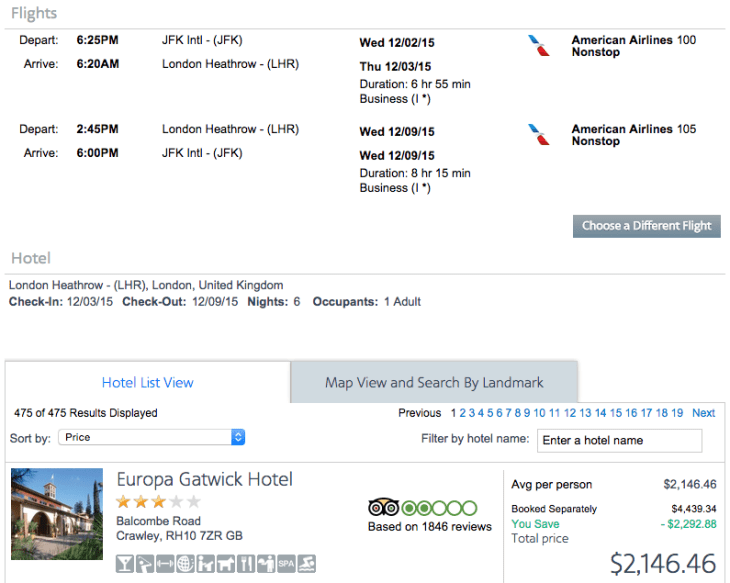 New York (JFK) to London (LHR) on American Airlines for $2,146.