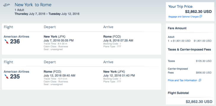 New York (JFK) to Rome (FCO) on American Airlines for $2,862.